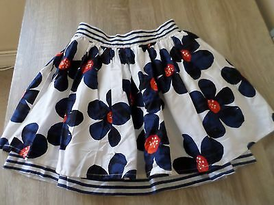 Girls Prety White Skirt With Blue & Red Flowers On Vgc George Layered 9-10 Years