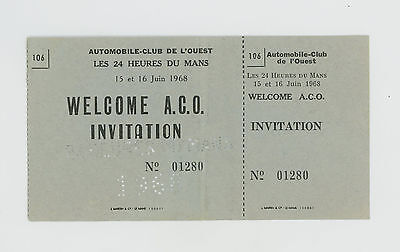 1968 Le Mans 24 Hour Invitation Ticket Aco