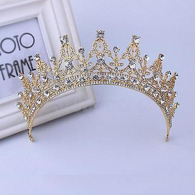 Wedding Jewelry Bridal Tiara Diamante Crown Headband Pageant Prom Comb Gold