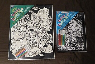 2 Chinese Shar-Pei Dog Fuzzy Velvet Coloring Posters NEW + 12 Art Pens Puppy