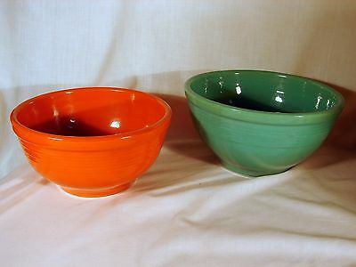 2 Bauer Los Angeles Rings Mixing Bowls, #12 & #18, Old VG to Excellent Condition
