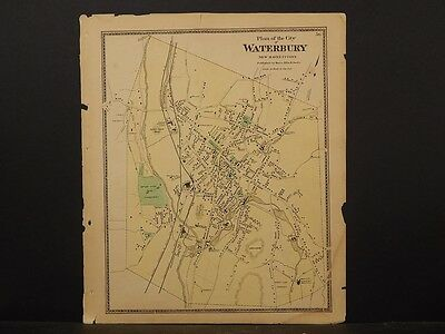 Connecticut, New Haven County Map 1868 Waterbury !Z3#57