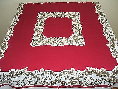 Vintage Tablecloth Burgundy Wine With Gold Foliage For The Holidays 52  X 46