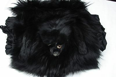 Large Antique Early 1900S Midnight Black Real Fur Muff