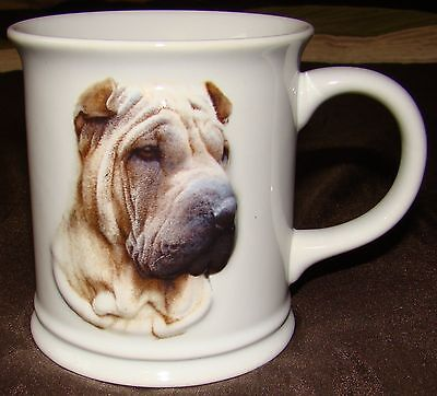 3-D Chinese Shar-Pei Coffee Mug Fawn Dog Cup NEW White