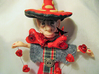SCOTTISH MUSHROOM ELF ooak polymer clay Folk Art doll figure miniature Hearts us