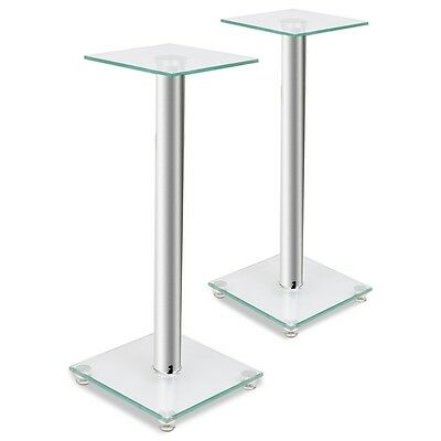 New 2pcs Speaker Stands 58cm Glass Heavy Duty Home Theatre Monitor Sliver Sound