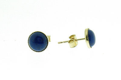 9 ct gold stud earrings with lapis lazuli cabochons