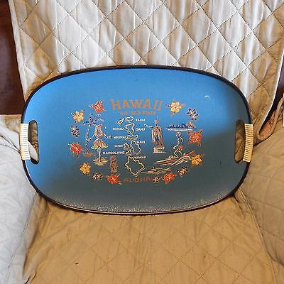 Vintage Plastic Tiki Bar Hawaii Souvenir Serving Tray, Hula Girl