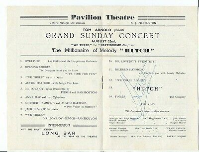 Singer & Pianist Leslie Hutchinson 'Hutch' Signed Programme Great Yarmouth