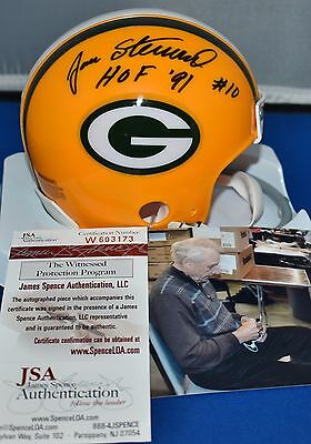 Jan Stenerud Autographed 1 Bar Mini Helmet Green Bay Packers Hof 1991 Jsa