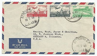 LIBAN Couverture 1953. Poste aérienne Beyrouth to Chicago. Date Prise Erreur