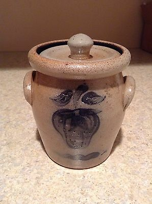 Rowe Pottery Country Home Collection Lidded Crock Salt Glaze Stoneware 1987