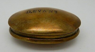 Antique / Vintage British / Welsh Miners Brass Snuff Box #1of3
