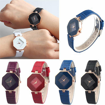 Fashion Ladies Women's Diamond Leather Stainless Steel Pretty Quartz Wrist Watch
