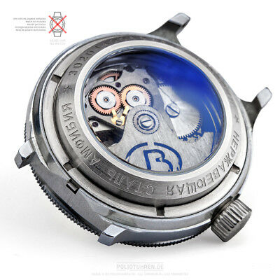 Vostok GLASS BOTTOM 10 ATM stainless steel MATT for russian Uhr Automatic Watch