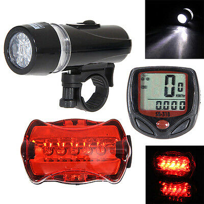 5 LED Bicycle Mountain Bike BMX Cycling Light Head +Rear Lamp +Bike Speedometer