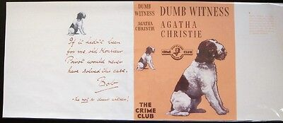 DUMB WITNESS - 1937 by Agatha Christie - Facsimile Dustjacket Only