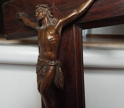 Large French Antique Wooden Wall Cross Crucifix Bronze? Metal Christ