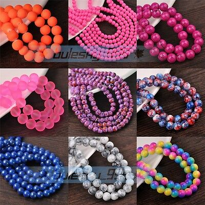 Wholesale (217Colors)  30pcs 8mm Round Loose Spacer Glass Beads Jewelry Making