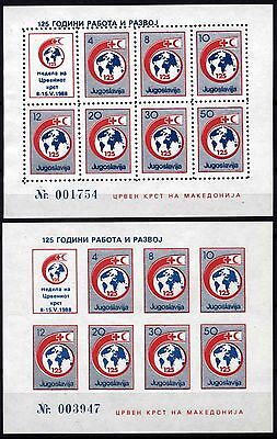 518 Yugoslavia - Macedonia 1988 Red Cross, Perf. + Imperf. Booklet (2) MNH