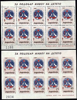 525 Yugoslavia - Macedonia 1987 Red Cross, Perf. + Imperf. Booklet (2)  MNH