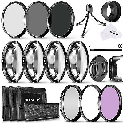 Neewer 58mm Camera Lens Filter Kit UV CPL FLD ND2 ND4 ND8 f Canon Rebel T6i T5i