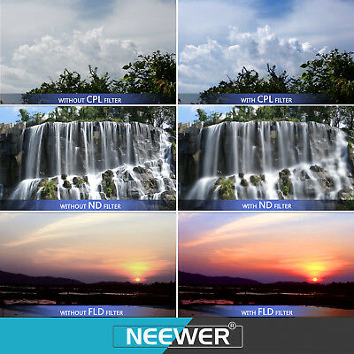 Neewer 58mm UV CPL FLD Lens Filter + Neutral Density Filter ND2 ND4 ND8 f Canon