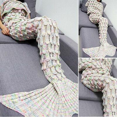 Mermaid Tail Blanket Crochet Adult Cocoon Knit Christmas Lapghan Rugs Sleep Bag