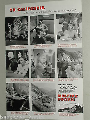 1956 Western Pacific advertisement, California Zephyr, CB&Q WP D&RGW