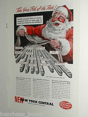 1949 NEW YORK CENTRAL RAILROAD advertisement, NYC, Santa Claus, passenger trains