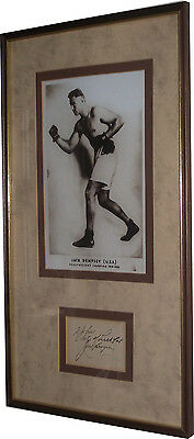 Jack Dempsey Signed Framed Photo Autograph Book page display The Manassa Mauler