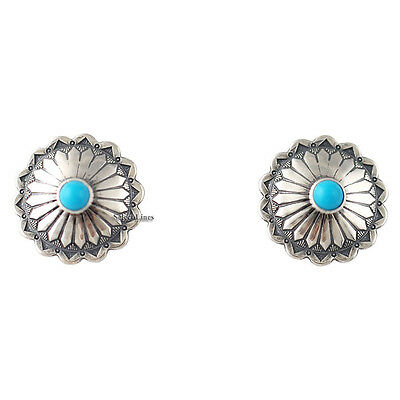 Turquoise Round Concho Post Earrings Silver Native American Jewelry