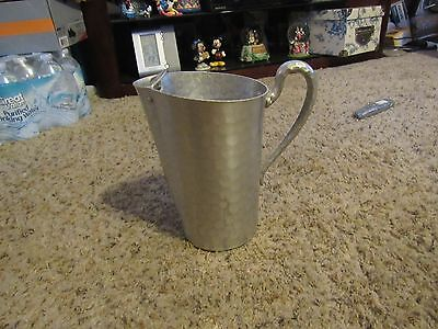 Vintage Everlast Forged Aluminum Water Pitcher Hammered Metal Jug w/ Ice Spout