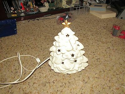 """Porcelain White and Gold Light up Christmas Tree 9 1/2"""" x 7"""""""