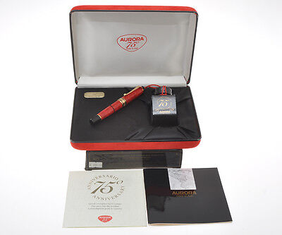 Aurora 75 Optima Red celluloid Limited Edition fountain pen new in box