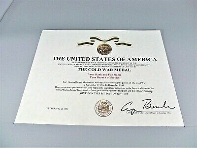 The Cold War Medal Certificate Army Navy Air Force Marines Merchant Coast Guard