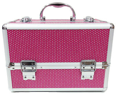 Large Pink Beauty Cosmetic Box Sequins Make Up Vanity Case Nail Tech Saloon Bag