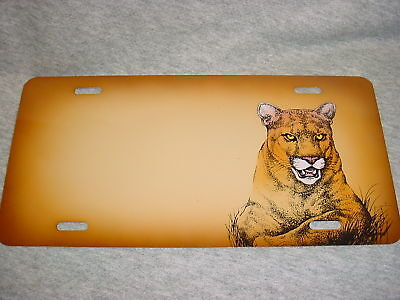 MOUNTAIN LION CAT Airbrushed CAR TAG Auto Truck Automobile LICENSE PLATE Cougar
