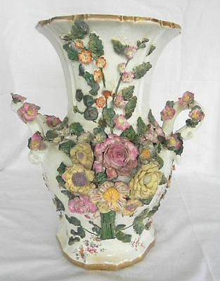 Continental Ceramic 2 Handled Vase Encrusted with Flowers Large & Heavy c 1850