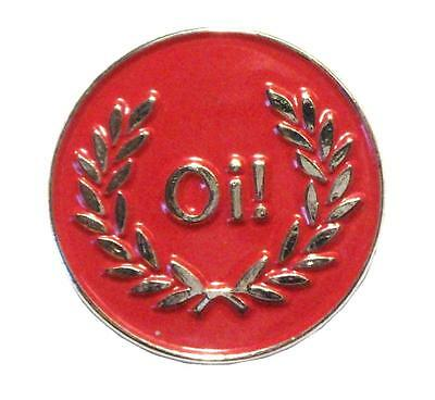 Oi! Red Silver & Laurel Skinhead Scooter MOD Metal Scooterist Enamel Badge New