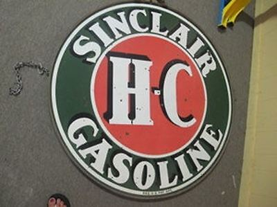 Sinclair H-C Gasoline Advertisement Sign with Original Ring 42""