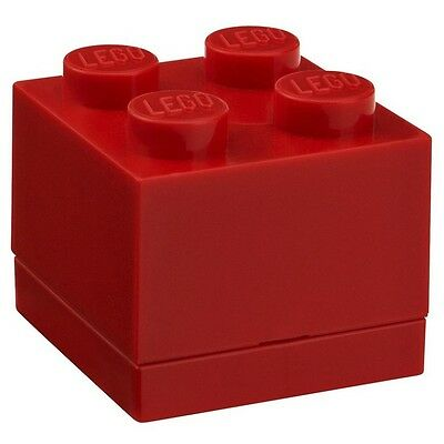 LEGO Brick Mini Box 4 RED Snack Food Container Lunch Storage Plastic