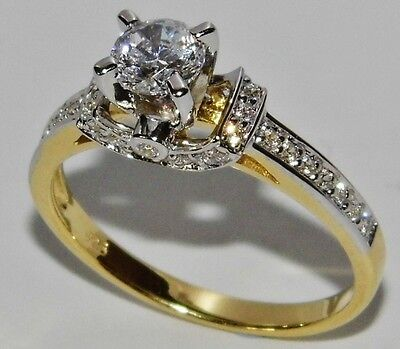 STUNNING 9 CT YELLOW GOLD & SILVER 0.75ct SOLITAIRE FANCY ENGAGEMENT RING size O