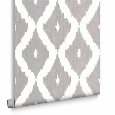 Kelly Hoppen Wallpaper-Kellys Ikat White and Soft Grey
