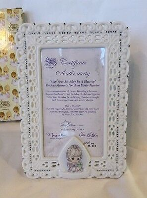 """Precious Moments """"May Your Birthday Be A Blessing"""" Porcelain Frame"""