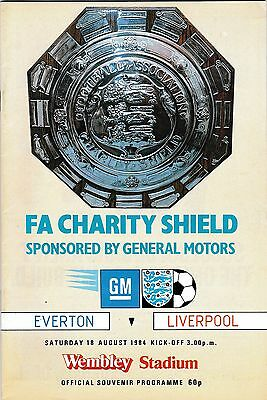 1984 FA CHARITY SHIELD PROGRAMME EVERTON v LIVERPOOL Aug 1984