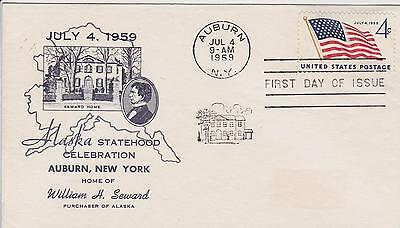 City Of Auburn 1St Cachet-First Day Cover Fdc 1959 Alaska Statehood Issue