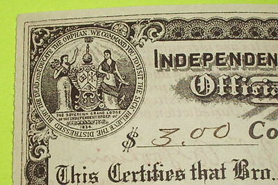1914 Antique INDEPENDENT ORDER OF ODD FELLOW official certificate IOOF lodge 699