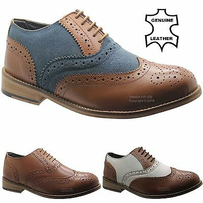 Mens Tan Leather Wedding Smart Brogue Dress Formal Office Lace Up Fashion Shoes